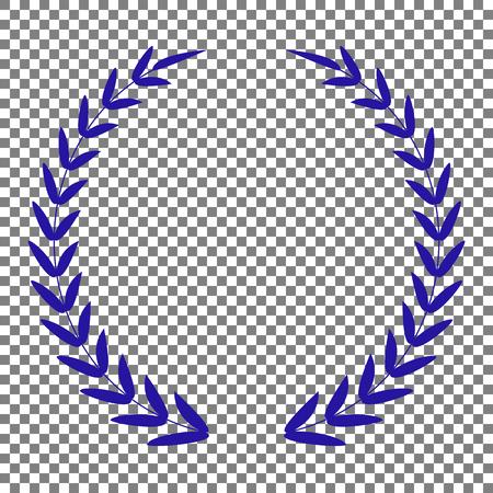 Laurel Wreath signe. Icône bleue sur fond transparent.