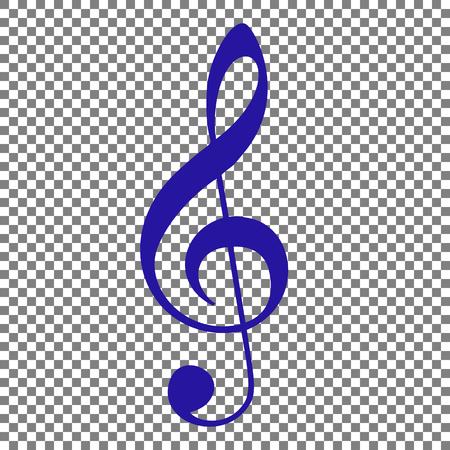 Segno di musica violino clef. Chiave di violino. Chiave di violino. Icona blu su sfondo trasparente. Archivio Fotografico - 70629360