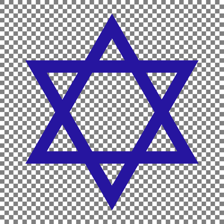 hannukah: Shield Magen David Star. Symbol of Israel. Blue icon on transparent background.