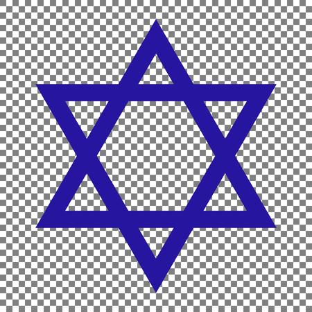 Shield Magen David Star. Symbol of Israel. Blue icon on transparent background.