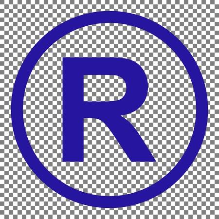 dispensation: Registered Trademark sign. Blue icon on transparent background.