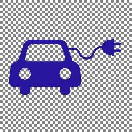 echnology: Eco electric car sign. Blue icon on transparent background.