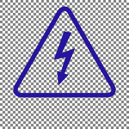 volte: High voltage danger sign. Blue icon on transparent background.