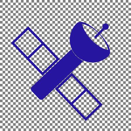 telephony: Satellite sign illustration. Blue icon on transparent background.