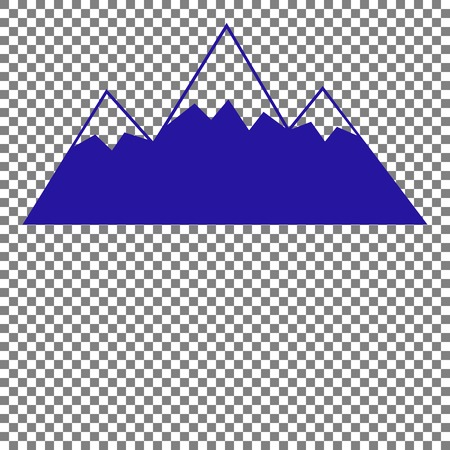 snow capped: Mountain sign illustration. Blue icon on transparent background.