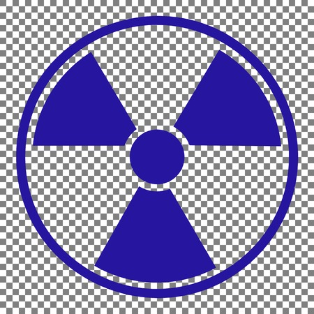 Radiation Round sign. Blue icon on transparent background. Illustration