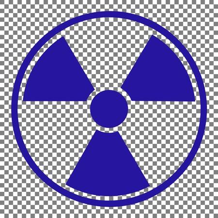 radiological: Radiation Round sign. Blue icon on transparent background. Illustration
