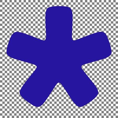Asterisk star sign. Blue icon on transparent background.