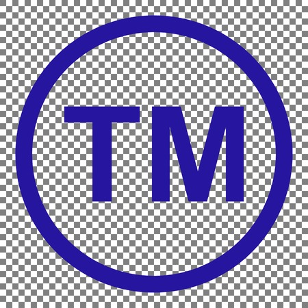 Trade mark sign. Blue icon on transparent background.