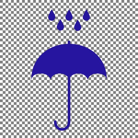 nylon: Umbrella with water drops. Rain protection symbol. Flat design style. Blue icon on transparent background.