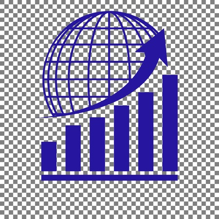 Growing graph with earth. Blue icon on transparent background.