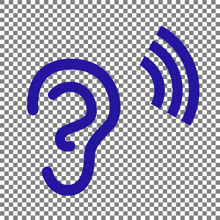 Human ear sign. Blue icon on transparent background.