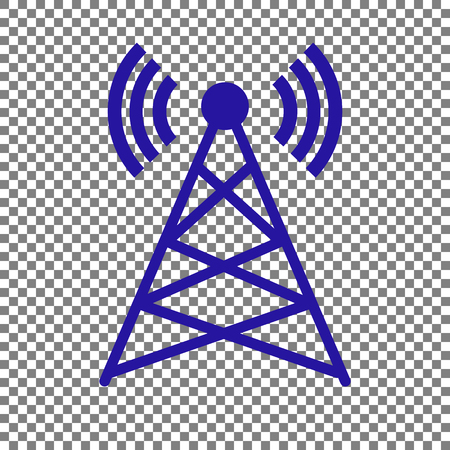 Antenna sign illustration. Blue icon on transparent background.