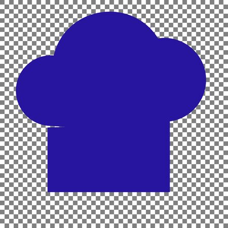 fine cuisine: Chef cap sign. Blue icon on transparent background.