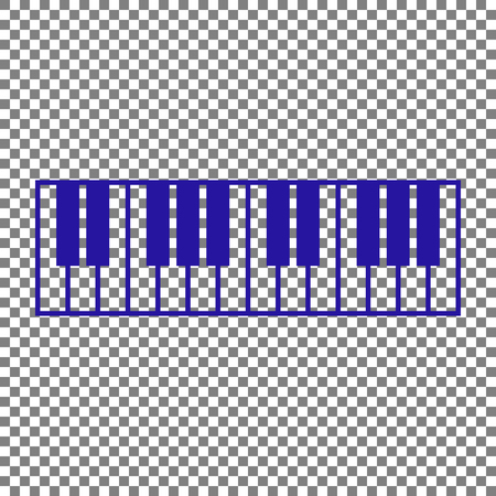 acoustically: Piano Keyboard sign. Blue icon on transparent background. Illustration