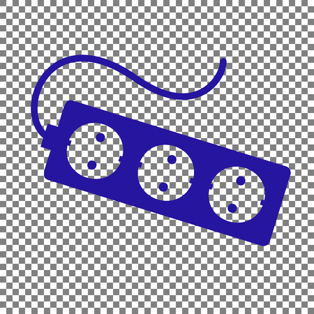 amp: Electric extension plug sign. Blue icon on transparent background.
