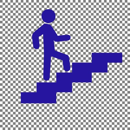 upstairs: Man on Stairs going up. Blue icon on transparent background.