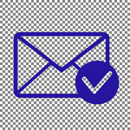 allow: Mail sign illustration with allow mark. Blue icon on transparent background. Illustration
