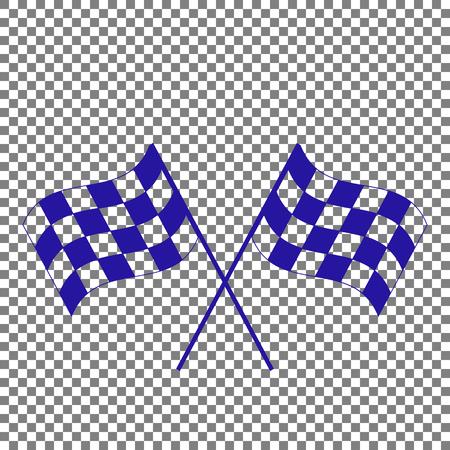 바람에 물결 치는 교차 체크 무늬 플래그 로고 모터 스포츠의 개념입니다. 투명 한 배경에 파란색 아이콘입니다. 일러스트