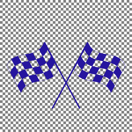 Gekruiste geruite vlaggen logo zwaaien in de wind conceptuele van motorsport. Blauw pictogram op transparante achtergrond.