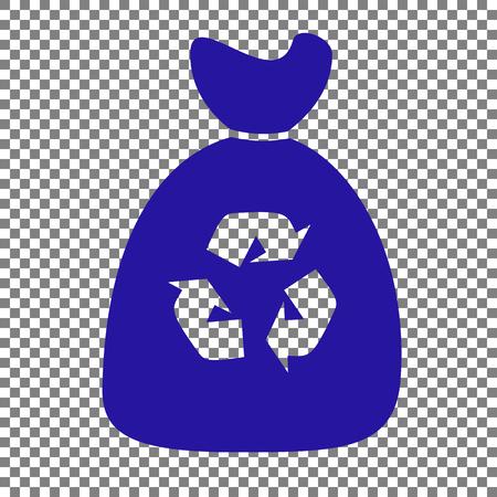 Trash bag icon. Blue icon on transparent background. Illustration