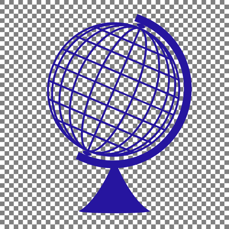 Earth Globe sign. Blue icon on transparent background.