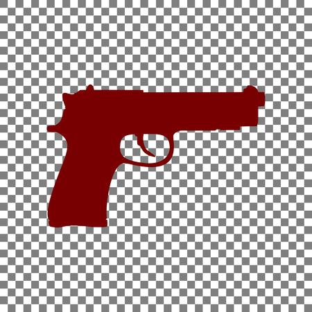 Gun sign illustration. Maroon icon on transparent background.