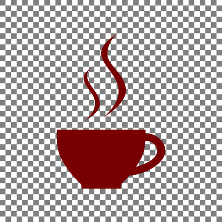 long bean: Cup of coffee sign. Maroon icon on transparent background.