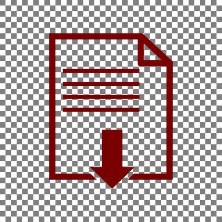 파일 다운로드 서명. 투명 한 배경에 적갈색 아이콘입니다. 일러스트
