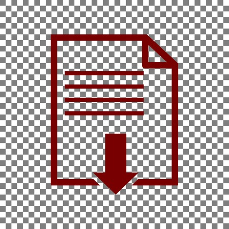 File download sign. Maroon icon on transparent background.