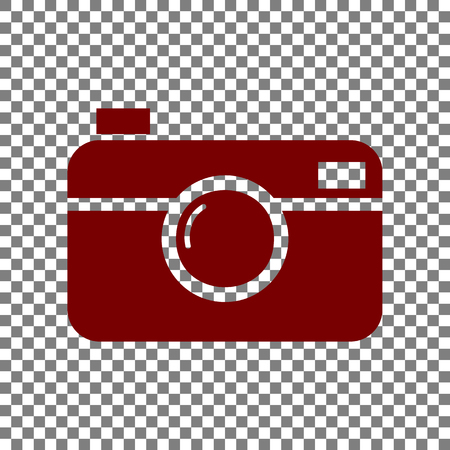Digital photo camera sign. Maroon icon on transparent background.