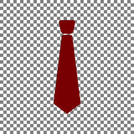 Tie sign illustration. Maroon icon on transparent background.