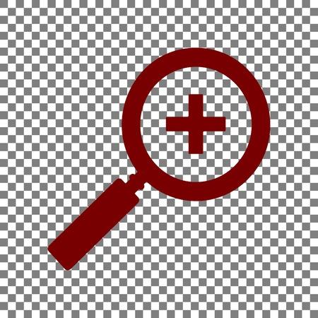 Zoom sign illustration. Maroon icon on transparent background.
