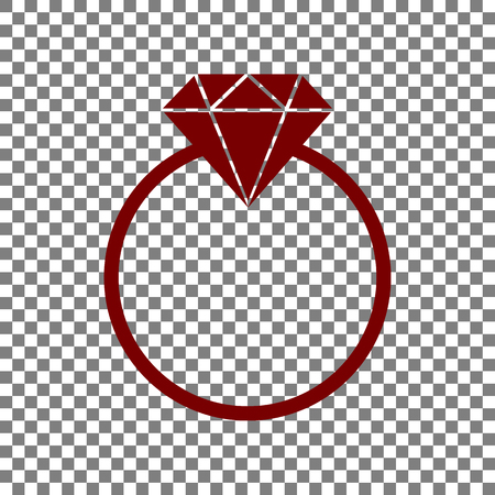 Diamond sign illustration. Maroon icon on transparent background.