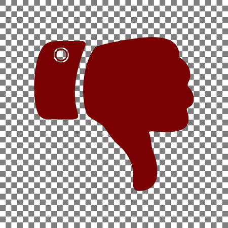 disapprove: Hand sign illustration. Maroon icon on transparent background.