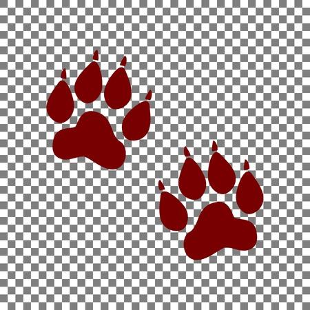 Animal Tracks sign. Maroon icon on transparent background. Illustration