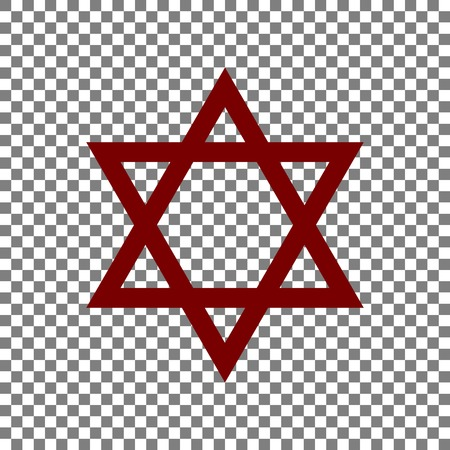 Shield Magen David Star. Symbol of Israel. Maroon icon on transparent background.