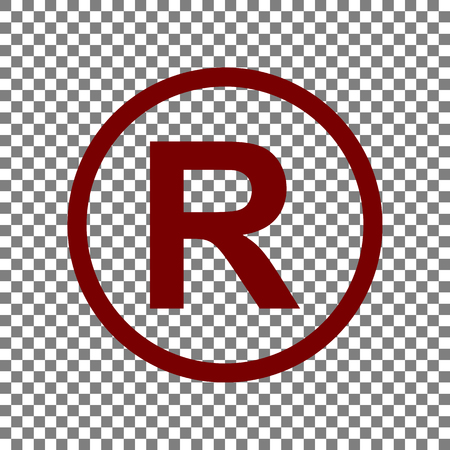 Registered Trademark sign. Maroon icon on transparent background. Illustration