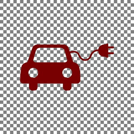 echnology: Eco electric car sign. Maroon icon on transparent background.