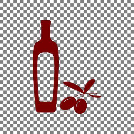 mediterranean diet: Black olives branch with olive oil bottle sign. Maroon icon on transparent background.