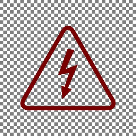 High voltage danger sign. Maroon icon on transparent background.
