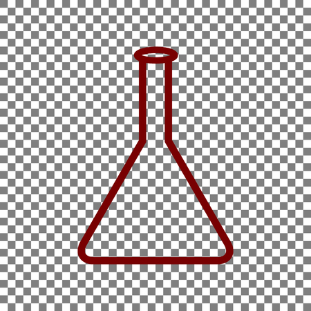 hypothesis: Conical Flask sign. Maroon icon on transparent background.