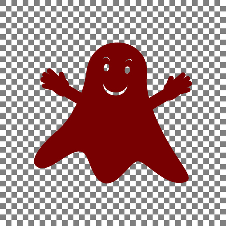 Ghost isolated sign. Maroon icon on transparent background.