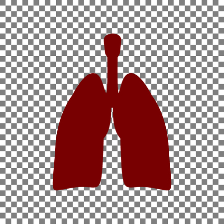 Human organs Lungs sign. Maroon icon on transparent background.