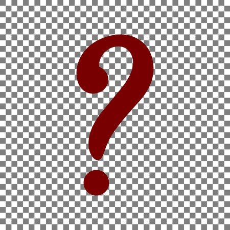 Question mark sign. Maroon icon on transparent background. Illustration