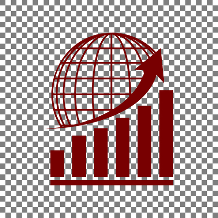Growing graph with earth. Maroon icon on transparent background.