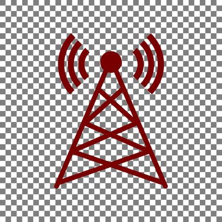 tv tower: Antenna sign illustration. Maroon icon on transparent background.