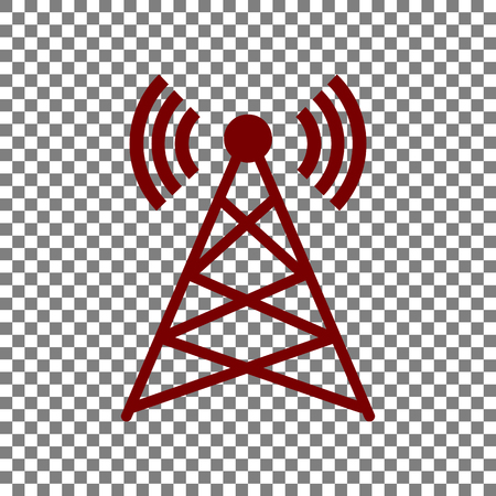 Antenna sign illustration. Maroon icon on transparent background.