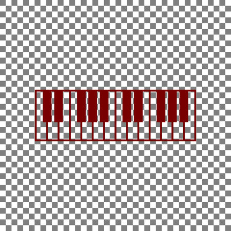 Piano Keyboard sign. Maroon icon on transparent background.