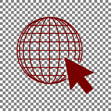 Earth Globe with cursor. Maroon icon on transparent background. Illustration